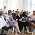 The West End cast of Company in rehearsals for Company. Photo by Darren Bell