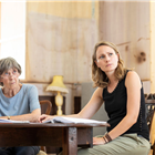 Eileen Atkins and Anne Madeley in rehearsals for The Height of the Storm. Photo credit: Helen Maybanks