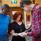 James MacDonald, Faz Singhateh and Finty Williams at rehearsals for The Night of the Iguana at the Noel Coward Theatre. Photo credit: Brinkhoff Moegenburg