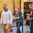 Alasdair Baker, Timothy Blore, Penelope Woodman and Karin Carlson at rehearsals for The Night of the Iguana at the Noel Coward Theatre. Photo credit: Brinkhoff Moegenburg