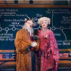 Simeon Truby (Dillamond) and Kim Ismay (Morrible) in Wicked at the Apollo Victoria Theatre - photo credit Matt Crockett