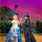 Helen Woolf (Glinda) and Nikki Bentley (Elphaba) in Wicked at the Apollo Victoria Theatre - photo credit Matt Crockett