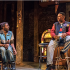 Wil Johnson (Brucie) and Osy Ikhile (Chris) in Sweat at the Gielgud Theatre. Photo credit: Johan Persson.