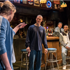 Martha Plimpton (Tracey), Patrick Gibson (Jason), Osy Ikhile (Chris) and Stuart McQuarrie (Stan) in Sweat at the Gielgud Theatre. Photo credit: Johan Persson.
