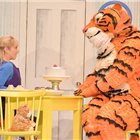 Jocelyn Zackon as Sophie, David Scotland as Tiger in The Tiger Who Came To Tea at the Theatre Royal Haymarket. Photo credit: Robert Day