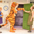Lizzie Dewar as Mummy, David Scotland as Tiger, Jocelyn Zackon as Sophie in The Tiger Who Came To Tea at the Theatre Royal Haymarket. Photo credit: Robert Day
