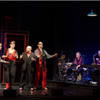 The cast of Showstopper! The Improvised Musical at the Apollo Theatre, London. Credit: Geraint Lewis