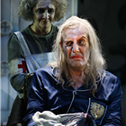 Debra Gillett as Juliette and Rhys Ifans as the King in Exit the King. Photo Credit: Simon Annand