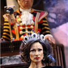 Indira Varma as Queen Marguerite and Derek Griffiths as the Guard in Exit the King. Photo Credit: Simon Annand