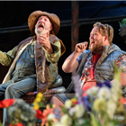 John Stahl and Danny Kirrane as Corin and Touchstone in As You Like It at the Regents Park Open Air Theatre. Credit: Jane Hobson.