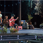 Jack Beale, Silas Wyatt-Barke and Jacade Simpson, with Danny Kirrane and Amy Booth-Steel as Touchstone and Audrey in As You Like It at the Regents Park Open Air Theatre. Credit: Jane Hobson