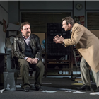 Daniel Ryan (Lingk) and Christian Slater (Ricky Roma) in Glengarry Glen Ross at The Playhouse, London. Credit: Marc Brenner
