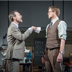 Christian Slater (Ricky Roma) and Kris Marshall (John Williamson) in Glengarry Glen Ross at The Playhouse. Credit: Marc Brenner