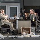 Christian Slater (Ricky Roma) and Stanley Townsend (Shelley Levene) in Glengarry Glen Ross at The Playhouse, London. Credit: Marc Brenner