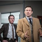 Oliver Ryan (Baylen) and Christian Slater (Ricky Roma) in Glengarry Glen Ross at The Playhouse, London. Credit: Marc Brenner