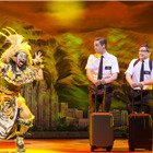 Keisha T. Fraser, Nic Roleau (Elder Price) and Brian Sears (Elder Cunningham) in The Book Of Mormon at London's Prince Of Wales Theatre