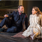 Paul Rider (Mr Kelvil) and Phoebe Fildes (Lady Stutfield) in A Woman No Importance. Photo by Marc Brenner