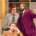 Tom Rosenthal (front) with Simon Bird and Matt Berry in The Philanthropist at Trafalgar Studios.