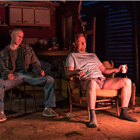 Adam Gillen as Chris Smith and Steffan Rhodri as Ansel Smith in Killer Joe at Trafalgar Studios. Photo Credit: Marc Brenner.