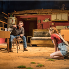 Orlando Bloom as Killer Joe Cooper and Sophie Cookson as Dottie Smith in Killer Joe at Trafalgar Studios. Photo Credit: Marc Brenner.