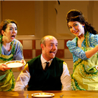 Lizzy Muncey, Jake Ferretti and Marie Lawrence in Nigel Slater's Toast at The Other Palace. Photo credit: Simon Annand