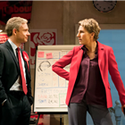 Martin Freeman and Tamsin Greig in Labour of Love. Photo by Johan Persson.