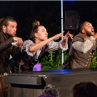 The cast of Iris Theatre's The Three Musketeers at St Paul's Church.