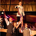 J. Lawrence, C. Burt, M. Krupski and S. Hunt in The Great Gatsby at Gatsby's Drugstore, London.