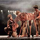Kiran Landa, Elizabeth Stretton, Khalid Daley,  War Horse at the Wembley Troubadour Theatre photo credit Brinkhoff & Mogenburg